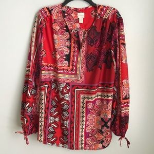 Chico's 3 Red Paisley Long Sleeve Blouse